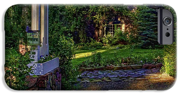 Cabin Window Digital iPhone Cases - A Little Cottage In The Woods iPhone Case by Nancy Marie Ricketts