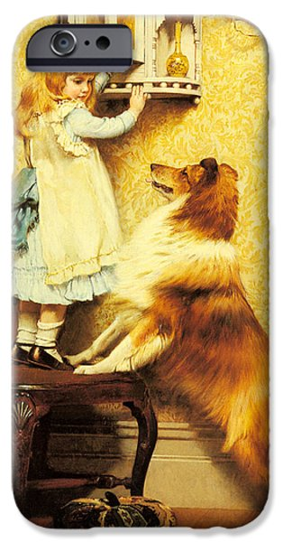 Little Girl iPhone Cases - A Little Girl and her Sheltie iPhone Case by Charles Burton Barber