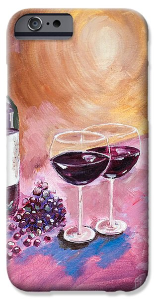 Glass Of Wine Paintings iPhone Cases - A little Wine on my Canvas - Wine - Grapes iPhone Case by Jan Dappen