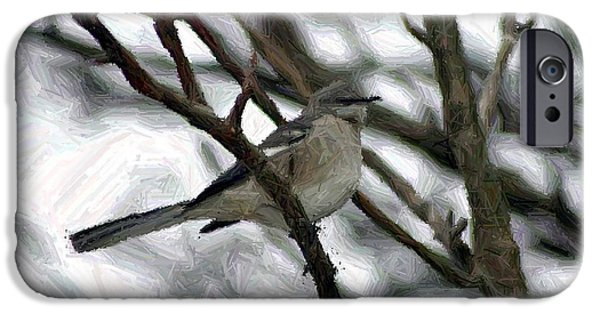 Snow Tapestries - Textiles iPhone Cases - A Lone Bird in Winter iPhone Case by Thia Stover