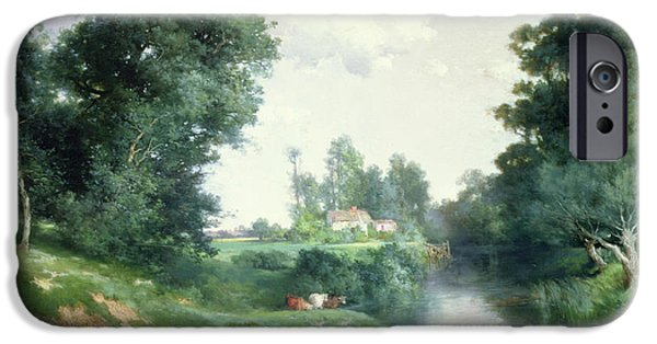 Rural iPhone Cases - A Long Island River, 1908 iPhone Case by Thomas Moran