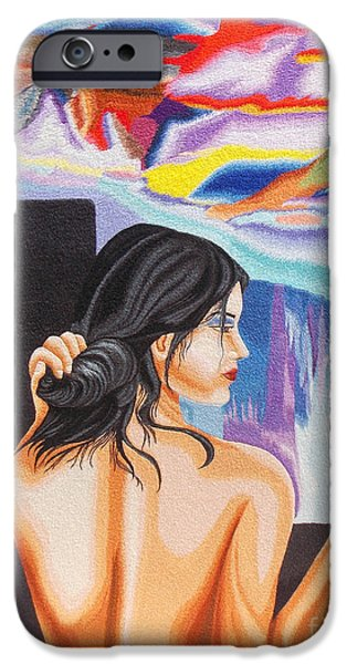 Nudes Tapestries - Textiles iPhone Cases - A Look into the Past hand embroidery iPhone Case by To-Tam Gerwe