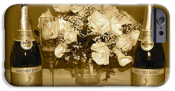 Table Wine iPhone Cases - A Lovely Evening in Sepia iPhone Case by Frozen in Time Fine Art Photography