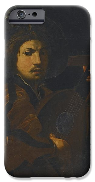 Lute Paintings iPhone Cases - A Lute Player iPhone Case by Celestial Images