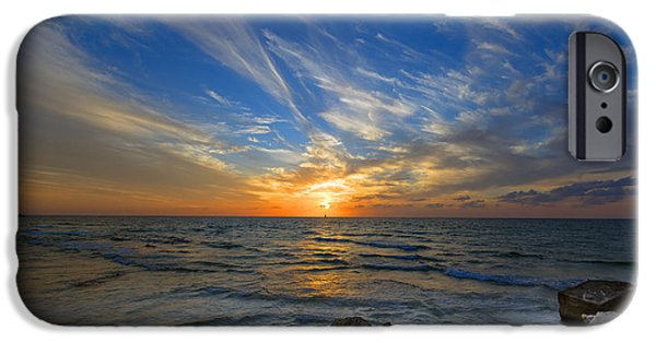 Israel iPhone Cases - A Majestic Sunset At The Port iPhone Case by Ron Shoshani