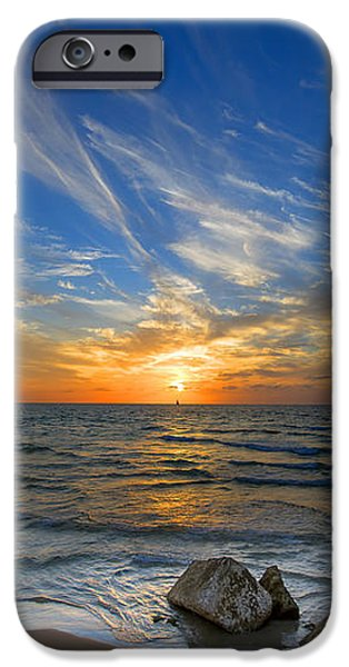 a majestic sunset at the port iPhone Case by Ron Shoshani
