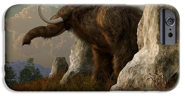 Extinct iPhone Cases - A Mammoth on Monument Hill iPhone Case by Daniel Eskridge