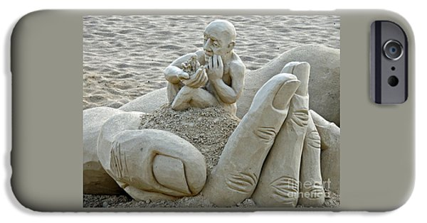 Sand Castles iPhone Cases - A Man In A Hand iPhone Case by Marcia Lee Jones