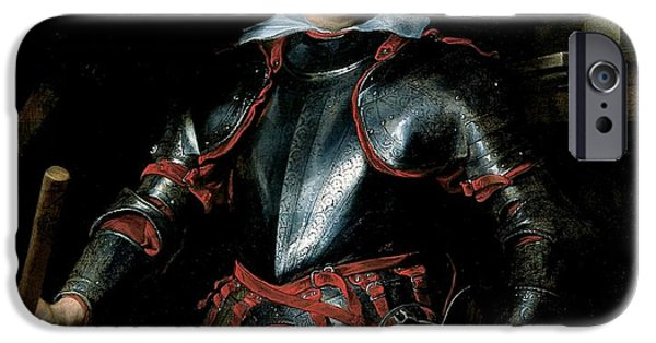 Armor iPhone Cases - A Man In Armour, C.1621-27 Oil On Canvas iPhone Case by Sir Anthony van Dyck
