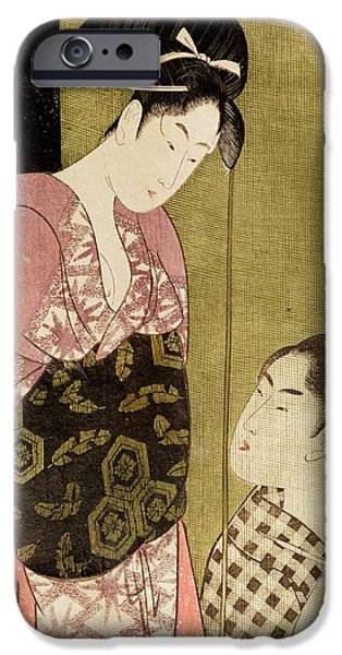 Painter Photographs iPhone Cases - A Man Painting A Woman Woodblock Print iPhone Case by Kitagawa Utamaro