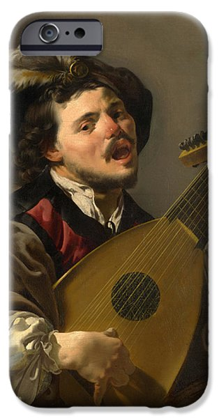 Lute Paintings iPhone Cases - A Man playing a Lute iPhone Case by Hendrick ter Brugghen