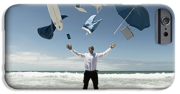 Button Down Shirt iPhone Cases - A Man Stands In The Ocean With Items iPhone Case by Ben Welsh