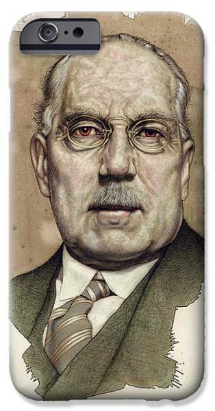Red Drawings iPhone Cases - A Man who used to be a Big Cheese iPhone Case by James W Johnson