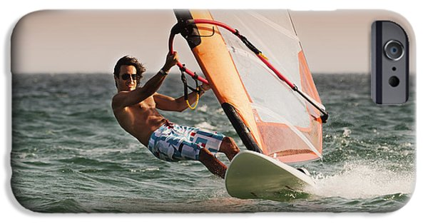 25-29 Years iPhone Cases - A Man Windsurfing Tarifa, Cadiz iPhone Case by Ben Welsh