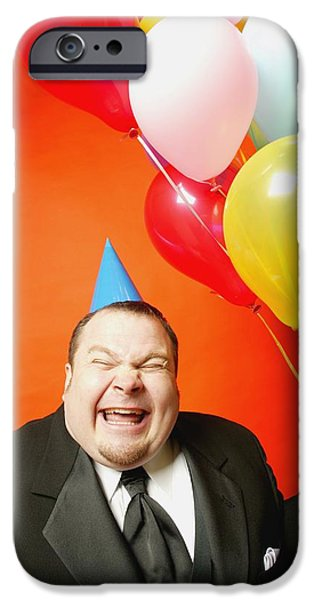 Party Birthday Party iPhone Cases - A Man With Balloons iPhone Case by Darren Greenwood