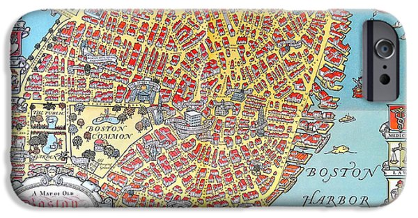 Map Of Boston iPhone Cases - A Map of Old Boston in the Commonwealth of Massachusetts iPhone Case by Celestial Images