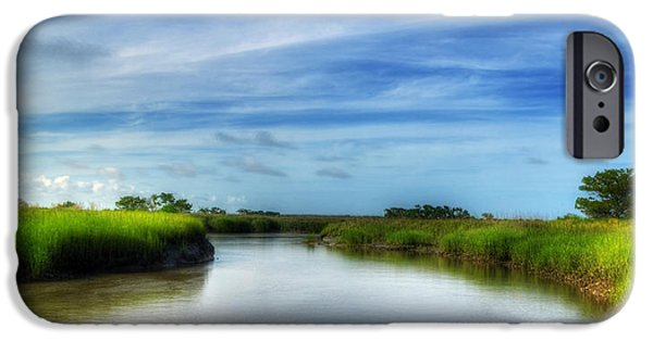 Tidal Creek iPhone Cases - A Marsh at Jekyll Island iPhone Case by Greg and Chrystal Mimbs