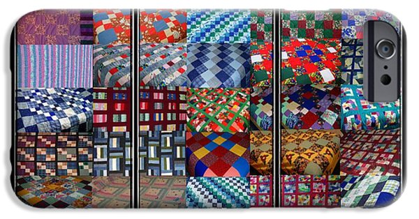 Bed Spread iPhone Cases - A Menagerie of Colorful Quilts Triptych iPhone Case by Barbara Griffin