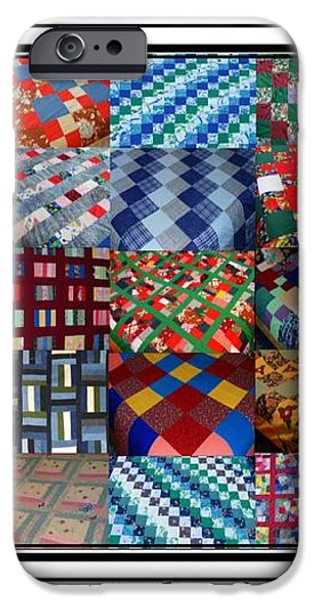 A Menagerie of Colorful Quilts Triptych iPhone Case by Barbara Griffin