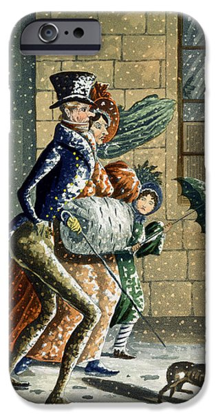 Snowy Drawings iPhone Cases - A Merry Christmas And Happy New Year iPhone Case by W Summers