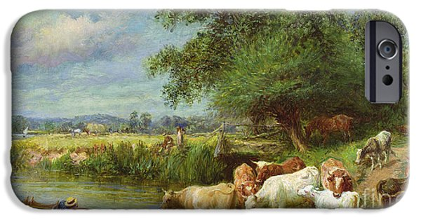Punting iPhone Cases - A Midsummers Day on the Thames  iPhone Case by Basil Bradley
