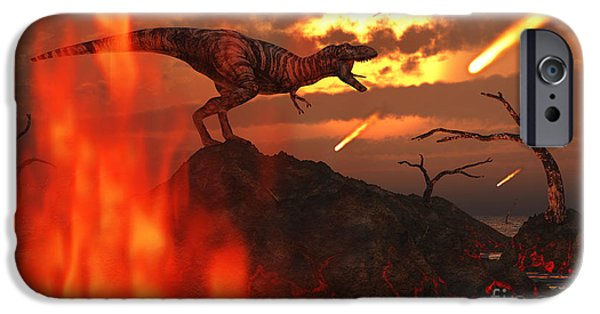 Wildlife Disasters iPhone Cases - A Mighty T. Rex Roars As Fireballs Fall iPhone Case by Mark Stevenson