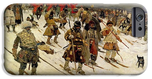Russian iPhone Cases - A Military Campaign In Russia During The 16th Century, 1903 Oil On Canvas iPhone Case by Sergej Vasilevic Ivanov