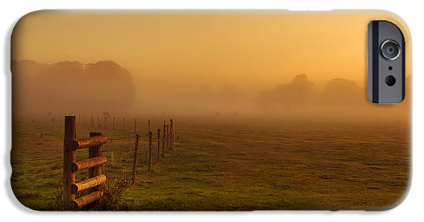 Agricultural iPhone Cases - A misty sunrise iPhone Case by Chris Fletcher