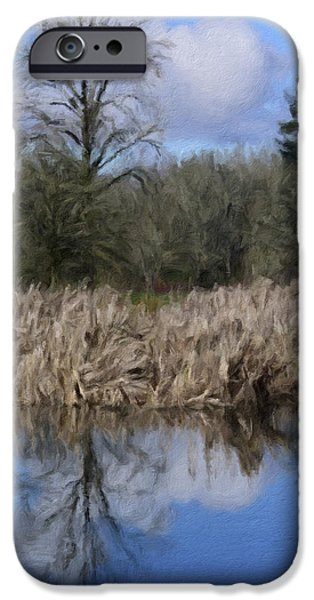 Waterscape Mixed Media iPhone Cases - A Moment of Reflection iPhone Case by Bonnie Bruno