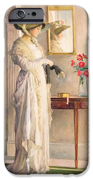Contemplative Paintings iPhone Cases - A Moments Reflection iPhone Case by William Henry Margetson