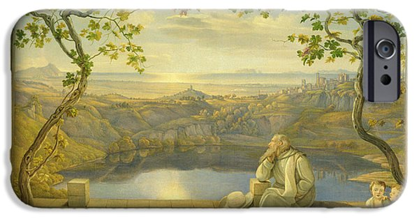 Tree Roots Paintings iPhone Cases - A Monk on a Terrace at the Nemi Lake iPhone Case by Joachim Faber