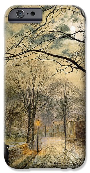 Night Lamp iPhone Cases - A Moonlit Stroll Bonchurch Isle of Wight iPhone Case by John Atkinson Grimshaw
