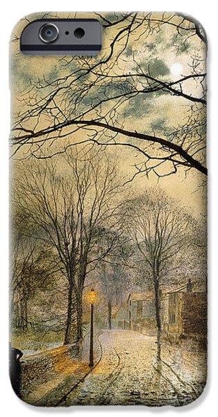 A Moonlit Stroll Bonchurch Isle of Wight iPhone Case by John Atkinson Grimshaw