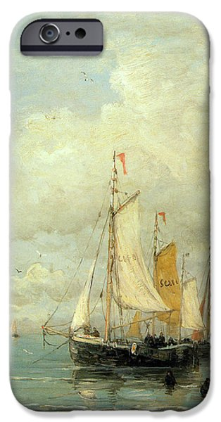 Sailboat Ocean Digital Art iPhone Cases - A Moored Fishing Fleet iPhone Case by Hendrik Mesdag Willem