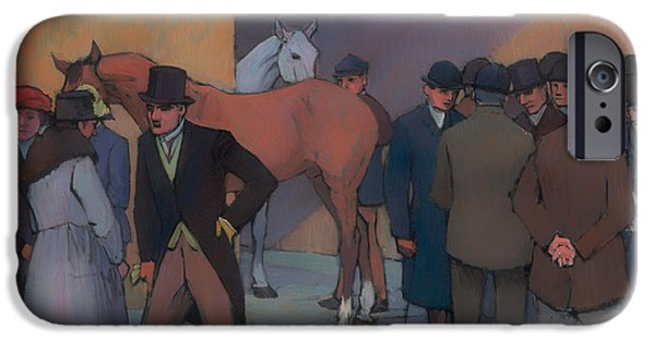 Horse Racing iPhone Cases - A Morning at Tattersalls iPhone Case by Robert Bevan