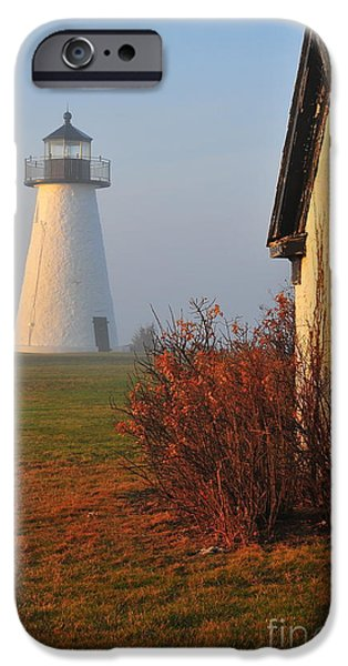 New England Lighthouse iPhone Cases - A Morning Fog iPhone Case by Catherine Reusch  Daley