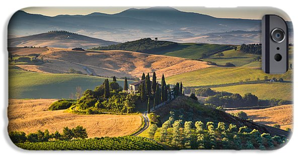 Tuscan Road iPhone Cases - A Morning in Tuscany iPhone Case by JR Photography