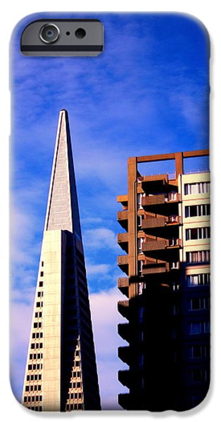 Buildings By The Ocean iPhone Cases - A Morning Profile of SF iPhone Case by Nick Busselman