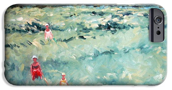 Landscape With Figure iPhone Cases - A Morning Stroll iPhone Case by Adel Sansur