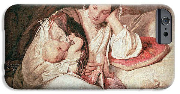Nurture iPhone Cases - A Mothers Love, 1839 iPhone Case by Josef Danhauser