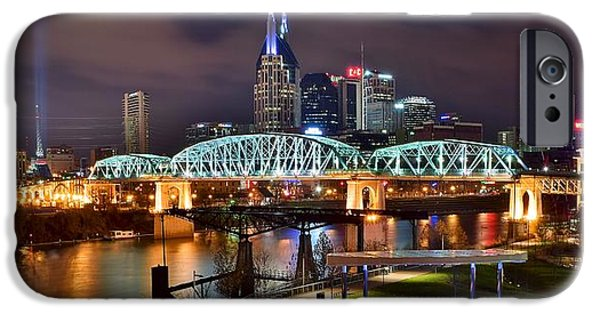 Inner World iPhone Cases - A Nashville Panoramic Night iPhone Case by Frozen in Time Fine Art Photography