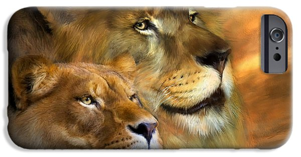 Lion Print iPhone Cases - A New Dawn iPhone Case by Carol Cavalaris