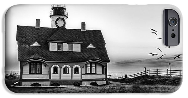 Maine iPhone Cases - A New Day At Portland Head Light BW iPhone Case by Susan Candelario
