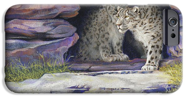 Snow Pastels iPhone Cases - A New Day - Snow Leopards iPhone Case by Tracy L Teeter