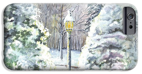 Night Lamp Drawings iPhone Cases - A Warm New Jersey Winter Welcome  iPhone Case by Carol Wisniewski