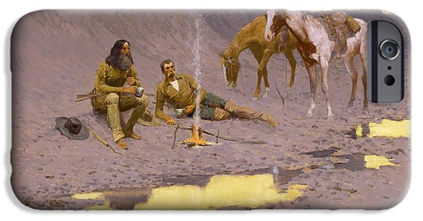 Frederic Remington iPhone Cases - A New Year on the Cimarron iPhone Case by Frederic Remington