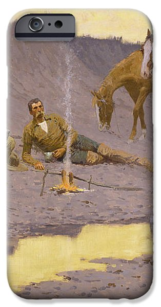 A New Year on the Cimarron iPhone Case by Fredrick Remington