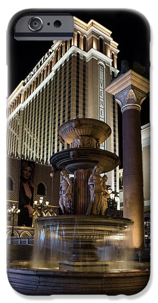 Night Lamp iPhone Cases - A Night at the Venetian Las Vegas iPhone Case by Georgia Mizuleva