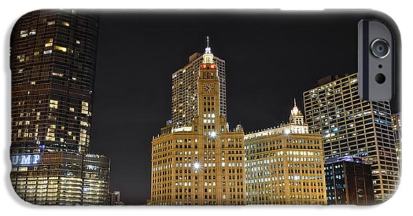Chicago Cubs iPhone Cases - A Night over the Chicago River iPhone Case by Frozen in Time Fine Art Photography
