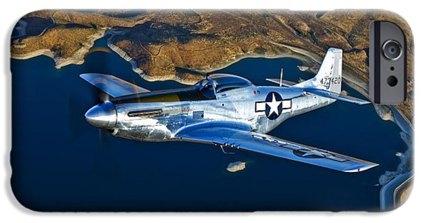 North American Aviation iPhone Cases - A North American P-51d Mustang Flying iPhone Case by Scott Germain